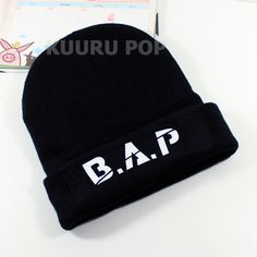 B.A.P Beanie  A must-have for all B.A.P fans, this beanie is perfect for keeping comfy and warm in style. It features 'B.A.P' in white lettering.  - One size only. - Beanies should fit everyone age 8 and up (including adults), but are not recommended for larger heads. - High-quality print.