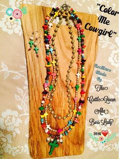 """""""Color Me Cowgirl""""...necklace set from the CattleQueen aka Boss Lady Facebook page! ❤️love, like and share❤️"""