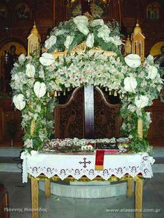 Epitafios in Cyprus Cyprus Greece, Orthodox Easter, Church Flowers, Russian Orthodox, Orthodox Christianity, Beautiful Islands, Church Ideas, Table Decorations, Lent