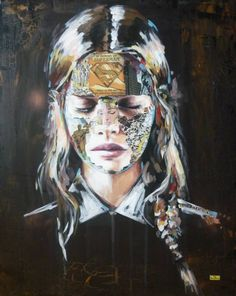 Montréal-based artist Sandra Chevrier gives us a look at her latest artworks called Super Heros Cages, where we get to see a collection of realistic female portraits camouflaged in comic book clippings, using mixed-media techniques that combines co. Sandro, Sandra Chevrier, Ppr, Inked Magazine, Classic Comics, Gcse Art, Pop Surrealism, Art Graphique, Portraits