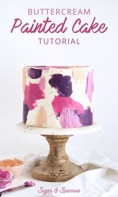 Learn how to use a combination of three different cake decorating techniques to create a painted buttercream cake in any color palette Sugar Sparrow Buttercream Cake Decorating, Easy Cake Decorating, Cake Decorating Techniques, Cake Decorating Tutorials, Buttercream Cake Designs, Frosting Tips, Buttercream Bakery, Decorating Ideas, Decor Ideas