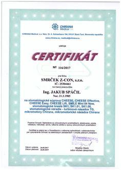 certifikát Chirana Jakub Spáčil