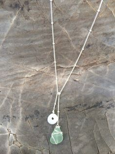 Hawaiian Puka Shell and Sea Glass Lariat Y by FlatteryDesigns