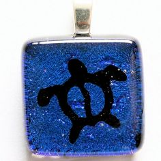 Sea Turtle Pendant Turtle Necklace Blue color by zulasurfing