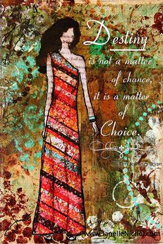"""Destiny is not a matter of chance, it is a matter of choice."" Abstract Inspirational mixed media wall art by by #JanelleNichol, $41.00 #art #mixedmedia"