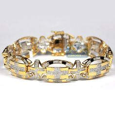 Purchase handsome Yellow Gold ct Natural Diamond Pave Link Bracelet for Men, 16 mm Wide, 8 inches Long. Diamond Sizes, Oval Diamond, Diamond Clarity, Diamond Cuts, Diamond Bracelets, Link Bracelets, Bracelets For Men, Gents Bracelet, Natural Diamonds