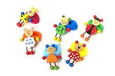 """Haar-Gummi """"Tiere"""". 12-er Set. Lustig bunte Holzfiguren als Blickfang an bunten Haargummis halten die wilden Mähnen!"""