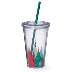 A Grande-size, clear plastic Cold Cup featuring geometric tree art in different patterns and colors.
