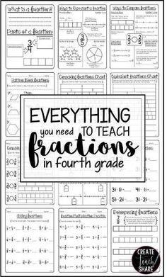Everything you need for teaching fractions in 4th grade is right here!! This resource includes activities for comparing fractions, finding equivalent fractions, fractions on a number line, plus adding, subtracting, and multiplying fractions. by carrie