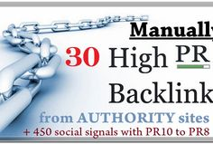 30 High PR GOOGLE SAFE BACKLINKS** from **30 High PR Authority Sites** HUGE Page Rank, Trust Rank and Authority that is what your Website Needs for dominate Google! Panda and penguin 2.0 friendly! What about Mozilla? Opera? Drupal? Adobe? APPLE? Etc? They will link to your website, this will increase Authority and Trust of your site! And we give you a well-thought mix from 450+ social signals with PR10 to PR8 of 150+ Facebook Shares, 150+ Twitter Rettwet, 150+ Pinterest Repins all to your…