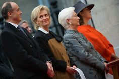 (L-R) Prince Lorenz, Princess Astrid, Queen Paola and Princess Claire of Belgium attend the Te Deum mass at the Saint Michael and Saint Gudula Cathedral, as part of the King's Feast, in Brussels, on 15.11. 2014.