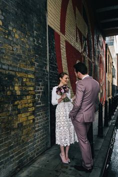 Emma wore a Self Portrait dress for her quirky, colourful and alternative, first look wedding. Photography by Eclection Photography. A Ceremony and Warehouse Reception for a Quirky and Stylish Winter Wedding Registry Office Wedding Dress, Quirky Wedding Dress, Colored Wedding Dress, Low Key Wedding Dress, Elegant Wedding, Courthouse Wedding Dress, Civil Wedding Dresses, Sexy Wedding Dresses, City Hall Wedding