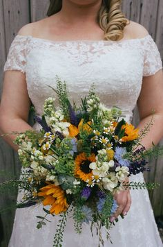 Yellow Purple Blue Bouquet Flowers Bride Bridal Sunflowers Wild Pretty Hand Made Field Summer Marquee Wedding http://marthaandgeorge.com/