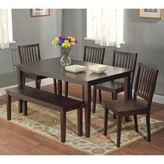 @Overstock.com - Shaker Espresso 6-piece Dining Table Set with Bench - You'll have plenty of room for guests by using this table set with included bench. The furniture is made of rubber wood and has a beautiful espresso finish. You get a table, four chairs, and a bench. The furniture has a basic, yet stylish look.  http://www.overstock.com/Home-Garden/Shaker-Espresso-6-piece-Dining-Table-Set-with-Bench/7594090/product.html?CID=214117 $545.99