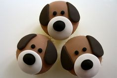 Puppy Dog Cupcakes (image only). made with fondant Puppy Dog Cupcakes, Puppy Cake, Animal Cupcakes, Puppy Birthday Cakes, Dog Birthday, Cupcake Day, Cupcake Cookies, Rose Cupcake, Fondant Toppers