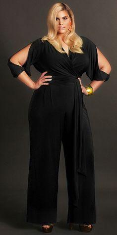 """""""Hilary"""" Slit Sleeve Wrap Jumpsuit - Black... Yea I'll take that ! HOT!"""