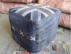 Recycled denim pouf made from old jeans Recycle Jeans, Upcycle, British Decor, Denim Crafts, Recycled Denim, Old Jeans, Home Crafts, Sewing Crafts, Recycling