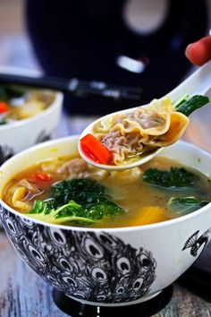 We love this soup because its hearty, healthy, packed with protein, low in carbohydrates, full of vegetables and best of all, has these tender little parcels of perfectly seasoned meat.