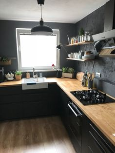 Black kitchen with wood worktop, black walls and open shelves - . - Black kitchen with wood worktop, black walls, and open shelves – # Informations About Schwarze Kü - Black Kitchen Cabinets, Rustic Cabinets, Kitchen Cabinet Design, Black Kitchens, Interior Design Kitchen, Home Kitchens, Black Ikea Kitchen, Kitchen Shelves, Wooden Kitchen Countertops