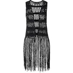 Laura Scott Crochet Waistcoat ($4,840) ❤ liked on Polyvore featuring outerwear, vests, laura scott, crochet vest, boho fringe vest, fringe vests and crochet waistcoat