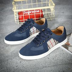 US $28 New Arrival Spring Luxury Brand Mens Casual Shoes Low Cut Canvas Shoes Flats Male Footwear Plaid Pattern Shoes Beige Blue