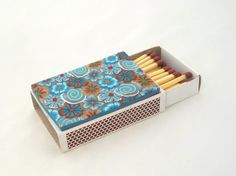 Match Box,  Blue and brown box,  Shabat Candles, Millefiori art