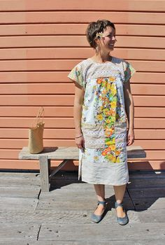 Upcycled Womens Vintage Linens Mexican Dress by apieceofpie