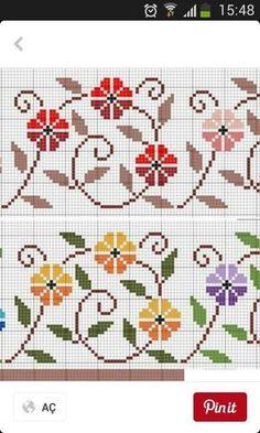 Stylized morning glory vine border cross stitch pattern.