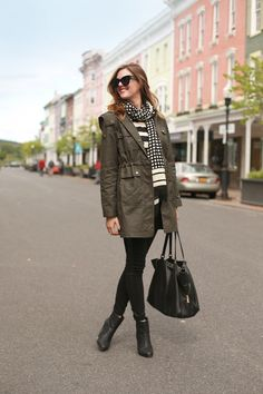 What I Wore/patterned scarf/striped shirt/green army jacket/black pants/black Chelsea boots/black tote bag