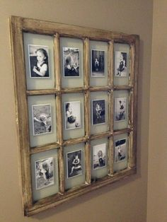 www.facebook.com/kristenathome An old windowsill turned into frames for photos! So smart. What do you think about this? Do you do any unique arts and crafts for a rustic feel?