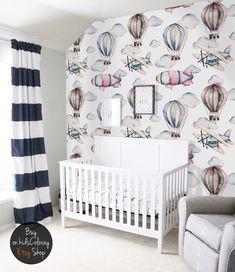 Dreamy, Watercolor, Balloons Wallpaper, Nursery Wall Mural, Reusable,  Removable, Kids