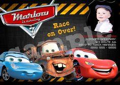 Custom Photo - Disney CARS Birthday Invitation - Printable BOY or GIRL. $7.50, via Etsy.