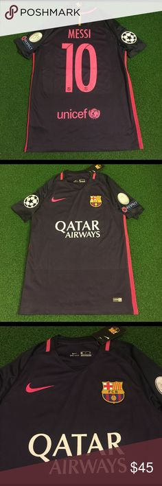 MESSI Barcelona Soccer Jersey champions league #10 Men's sizes: Brand new with tags LIONEL MESSI #10 Barcelona Soccer Jersey 2016/2017 champions league patches. Color is purple and pink short sleeve jersey. LEO MESSI #10. Fast shipping! I sell other jerseys as well. BARCA - FCB , Futbol top . Tags: euro 2016 , champions league , la liga , bundesliga , EPL , English premier league , soccer ball , Cleats Shirts Tees - Short Sleeve