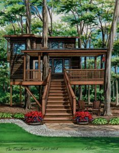 x watercolor portrait of The Treehouse Spa. Created by Custom House Portraits by Richelle Flecke. Sims House Plans, Unusual Homes, Watercolor Portraits, Landscape Art, Custom Homes, Home Art, Spa, Exterior, Treehouse