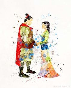 Mulan and Prince Shang, Disney Watercolor Print. Prices from $9.95. Available at InkistPrints.com - #disney #watercolor #babyart #decor #nurseryart #Mulan