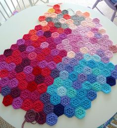 Kaleidoscope blanket. Pattern at this link  http://bunnymummy-jacquie.blogspot.com.au/2010/04/mini-hexagon-pattern.html