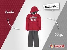 Dá uma olhada nesse conjunto infantil que segue a tendência de Cinza com Bordô! #lookbrandili #temqueter