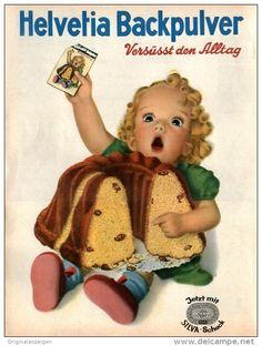 Original-Werbung/Inserat/ Anzeige 1950 - 1/1 SEITE/GROSSFORMAT HELVETIA BACKPULVER - ca. 240 x 320 mm