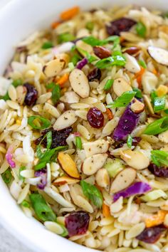 A flavorful, lighter twist on orzo salad - this Coleslaw Orzo Salad is made with a light and tasty citrusy orange dressing and toasted almonds for crunch. Cookout Side Dishes, Party Side Dishes, Barbecue Side Dishes, Cookout Food, Summer Side Dishes, Potluck Dishes, Potluck Recipes, Side Dishes Easy, Food Dishes