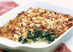 Spinach Casserole, Casserole Recipes, Veggie Side Dishes, Vegetable Dishes, Crumb Topping Recipe, Christmas Side Dishes, Sauteed Spinach, Spinach Recipes, Side Dishes