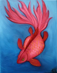 Pink Goldfish painting by Kathleen Scott