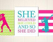 Girls motivational sports art, volleyball girl, softball girls art, custom art for girls, teen girl decor, set of 3, mixed sizes