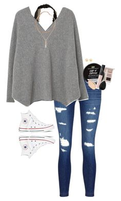 """School"" by halledaniella ❤ liked on Polyvore featuring Too Faced Cosmetics, Hollister Co., J Brand, MANGO, NARS Cosmetics, Dermablend, beautyblender, Converse and Charlotte Russe"