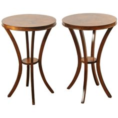 Pair of Edwardian Circular Side Tables | From a unique collection of antique and modern side tables at https://www.1stdibs.com/furniture/tables/side-tables/