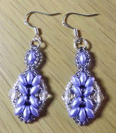 Handmade Blue Super Duo Beaded Dangle Earrings 925 Silver Hooks