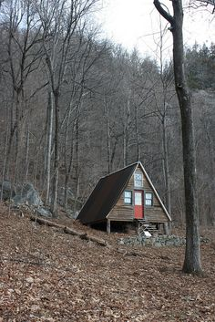An old A-frame cabin in Chimney Rock State Park, North Carolina