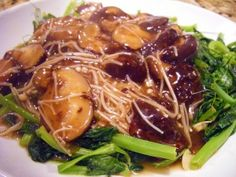 Chinese pea plant shoots and mushrooms #recipe