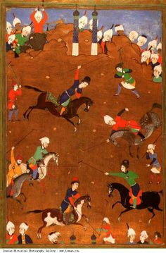 A Safavid miniature painting shows soldiers playing Chowgun, known today as Polo.