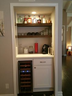 Wine And Coffee Bar For Easy Drinking Morning Night Turned An Unused Furnace Room Into A Dry