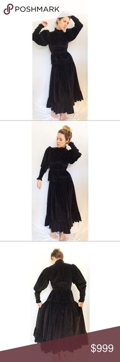 "Vintage 70's Aileen West Velvet Victorian Set Gorgeous and very rare Aileen West later changed to Eileen West 100% cotton velvet skirt set in dark chocolate brown. Victorian style jacket with peplum skirt and dramatic puffy sleeves that are tightly tapered at wrist. High neck ruffled collar. Buttons down the front and at sleeve. Skirt features a yoked waist and prairie style ruffle at hem. Side zipper and button closure. Great condition! Measurements: Jacket- 34"" chest, 26"" Waist, 21""…"